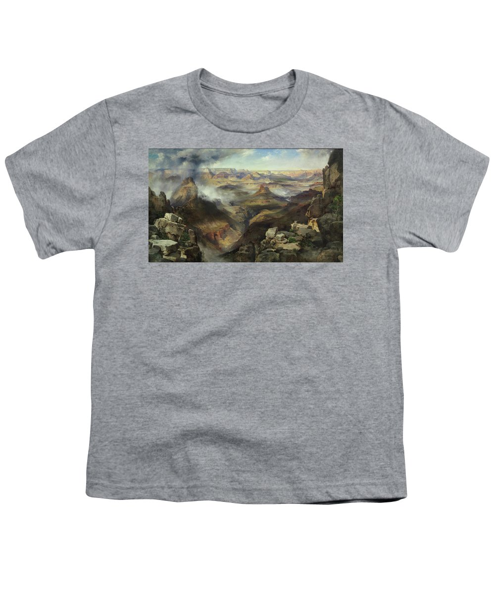 Moran Youth T-Shirt featuring the painting Grand Canyon Of The Colorado River by Thomas Moran
