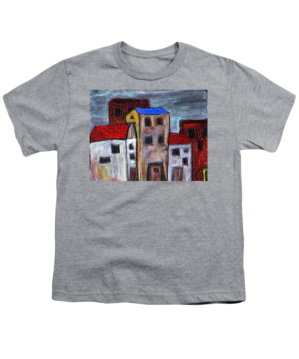 City Scene Youth T-Shirt featuring the painting Alley Doors by Wayne Potrafka