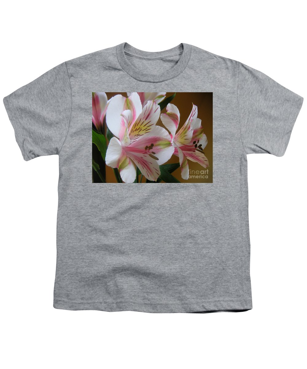 Nature Youth T-Shirt featuring the photograph Alstroemerias - Listening by Lucyna A M Green