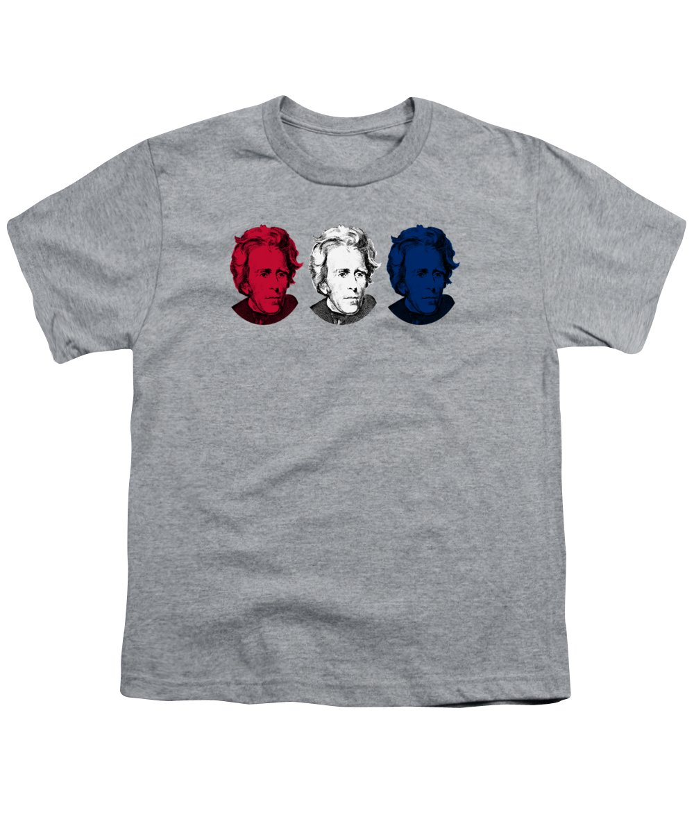 President Jackson Youth T-Shirt featuring the digital art Andrew Jackson Red White And Blue by War Is Hell Store