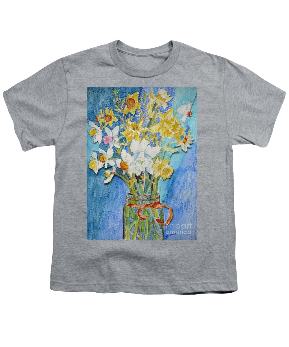 Flowers Youth T-Shirt featuring the painting Angels Flowers by Jan Bennicoff