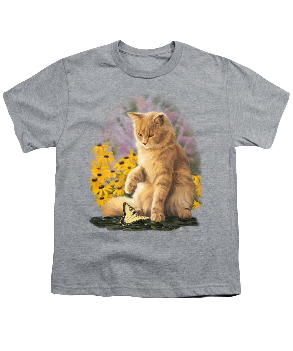 Cat Youth T-Shirt featuring the painting Archibald And Friend by Lucie Bilodeau