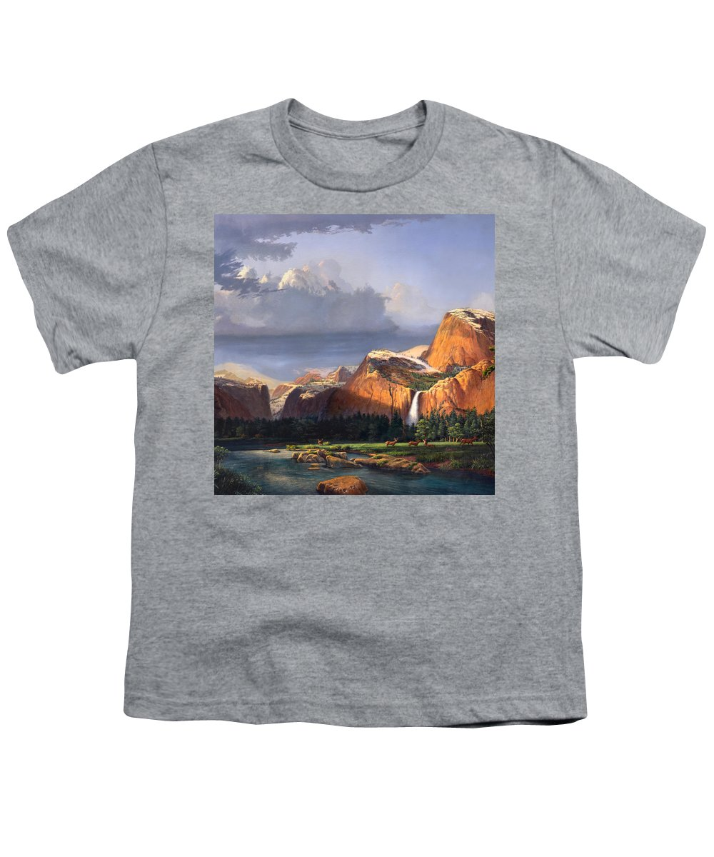 American Youth T-Shirt featuring the painting Deer Meadow Mountains Western Stream Deer Waterfall Landscape Oil Painting Stormy Sky Snow Scene by Walt Curlee