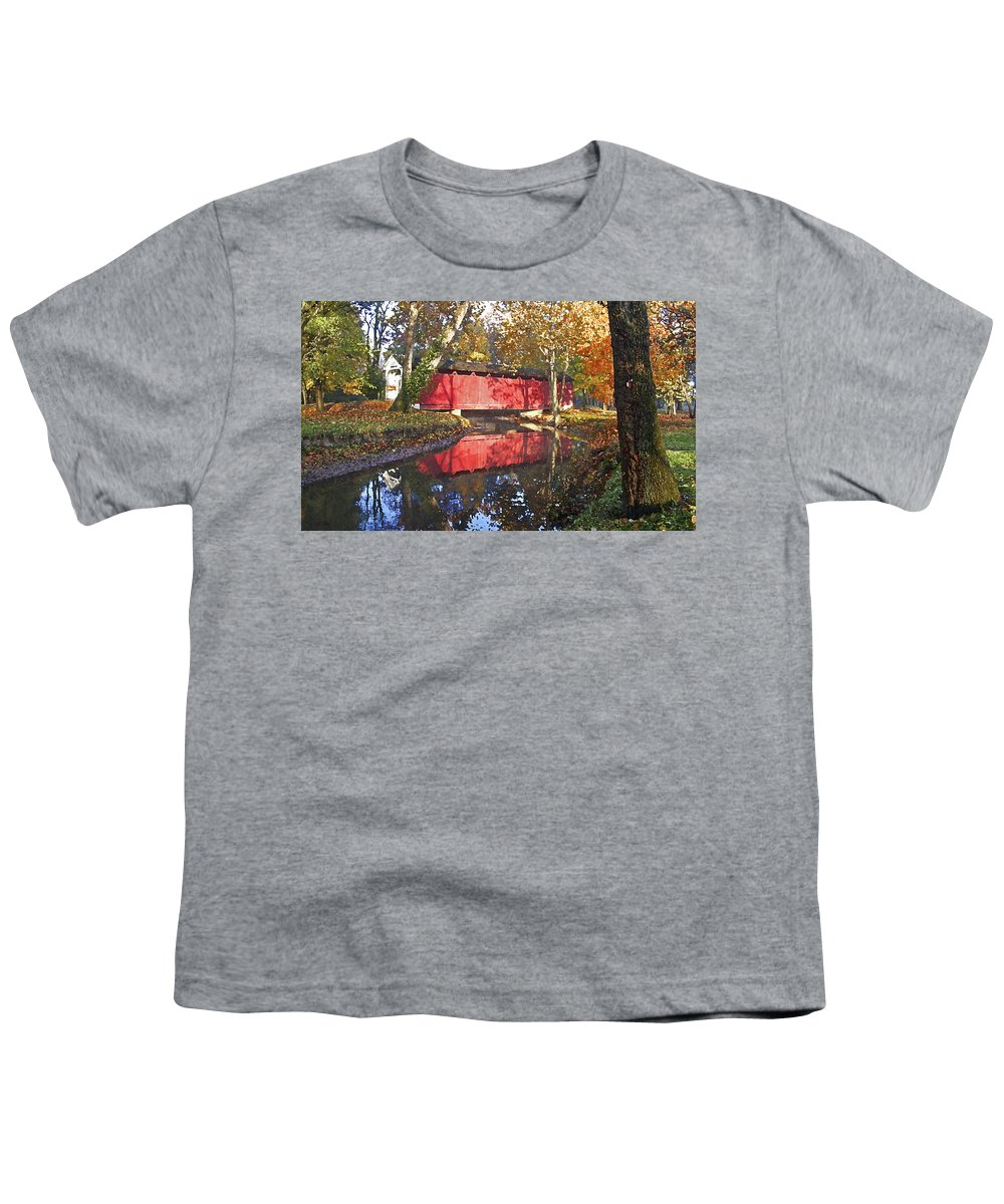 Covered Bridge Youth T-Shirt featuring the photograph Autumn Sunrise Bridge by Margie Wildblood