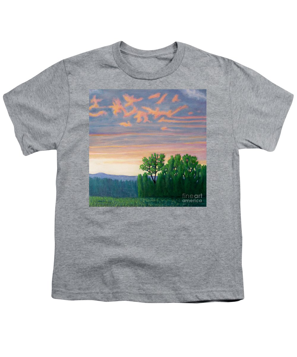 Landscape Youth T-Shirt featuring the painting Balsa Road by Brian Commerford