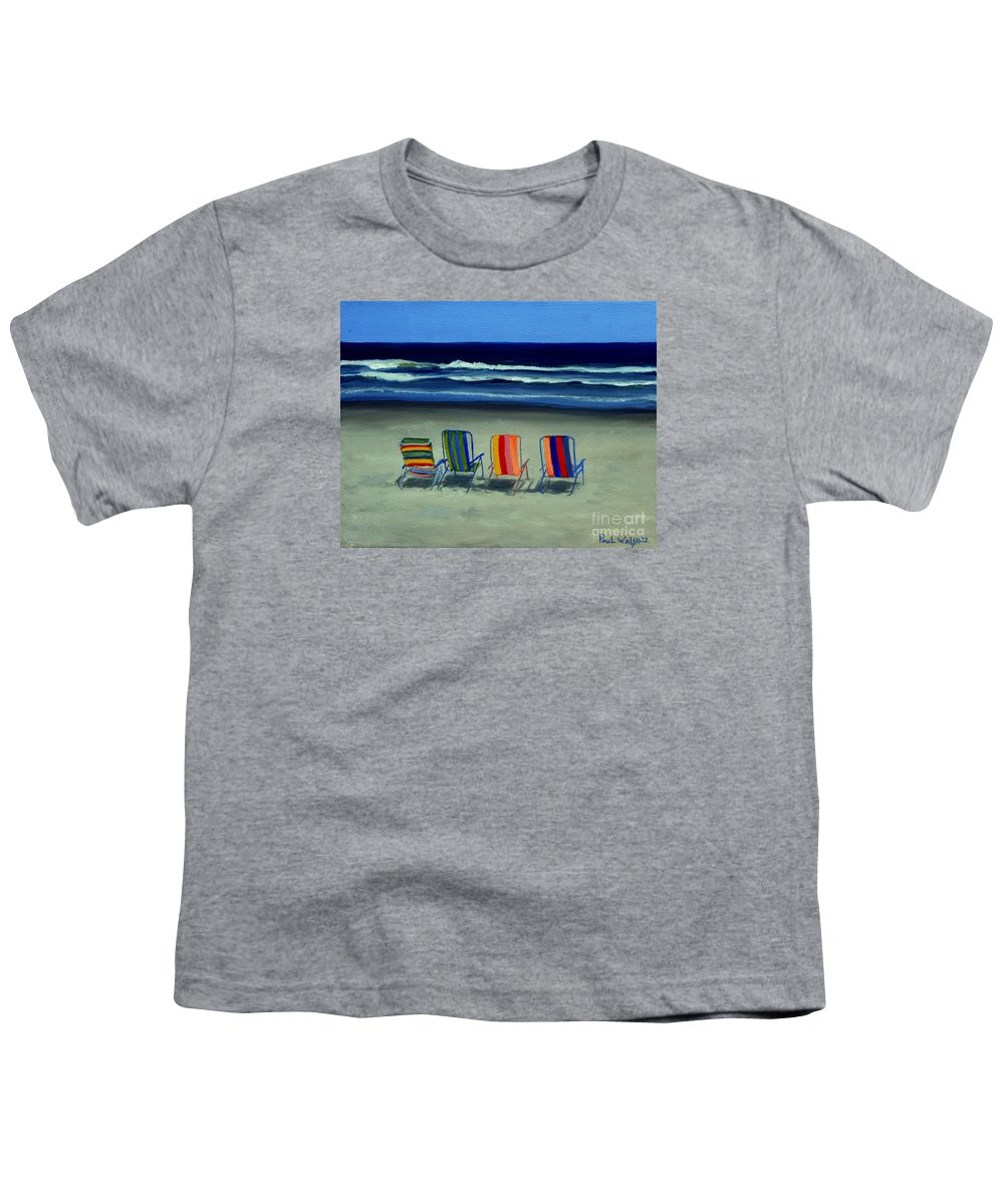 Beach Youth T-Shirt featuring the painting Beach Chairs by Paul Walsh