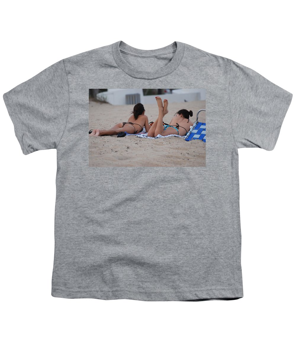 Girls Youth T-Shirt featuring the photograph Beach Combers by Rob Hans