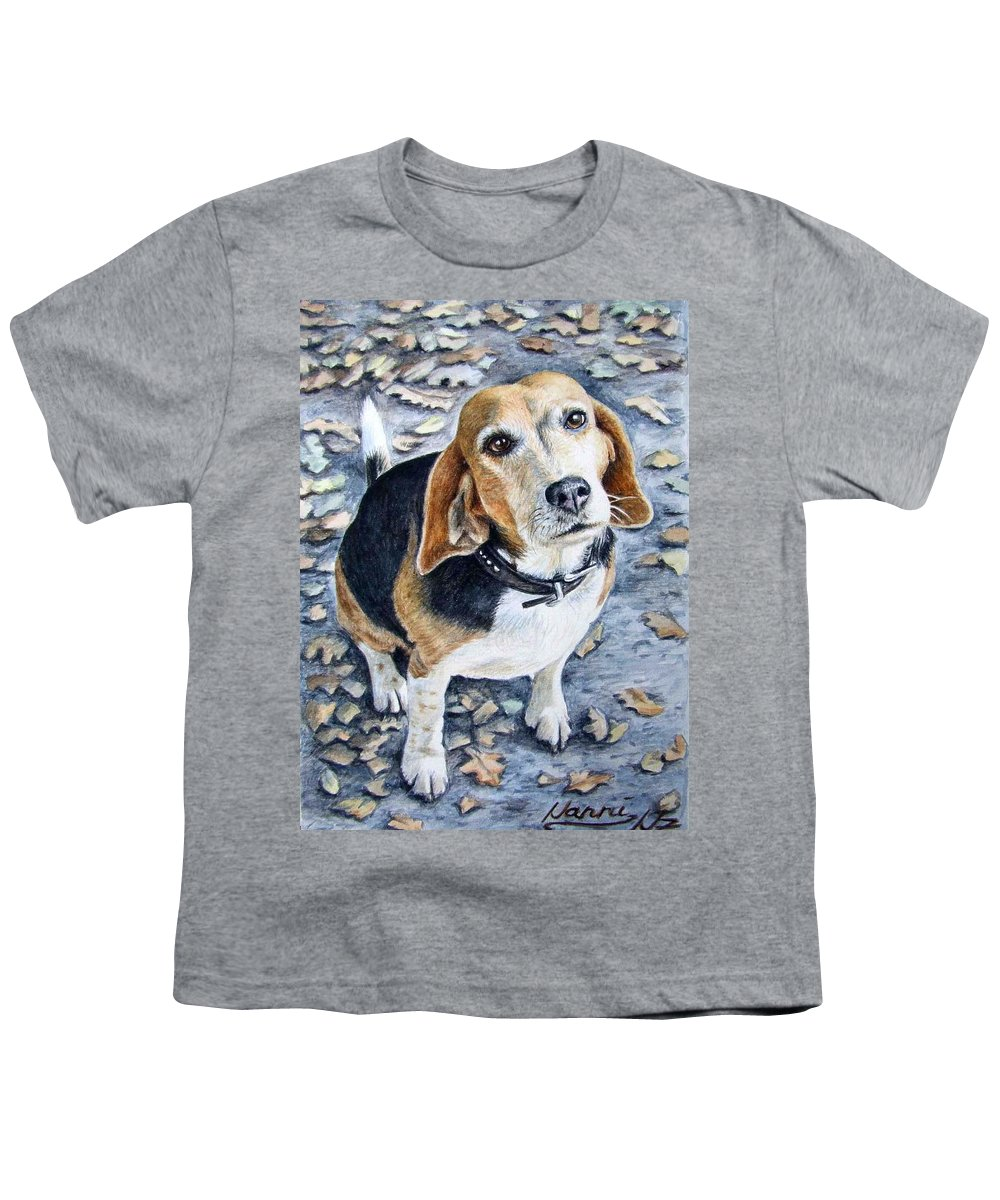 Dog Youth T-Shirt featuring the painting Beagle Nanni by Nicole Zeug