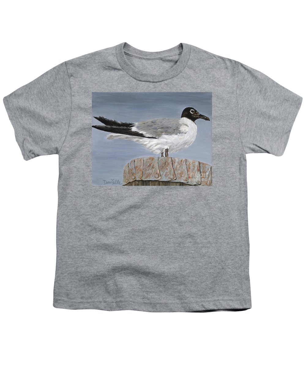 Seagull Youth T-Shirt featuring the painting Bimini Gull by Danielle Perry