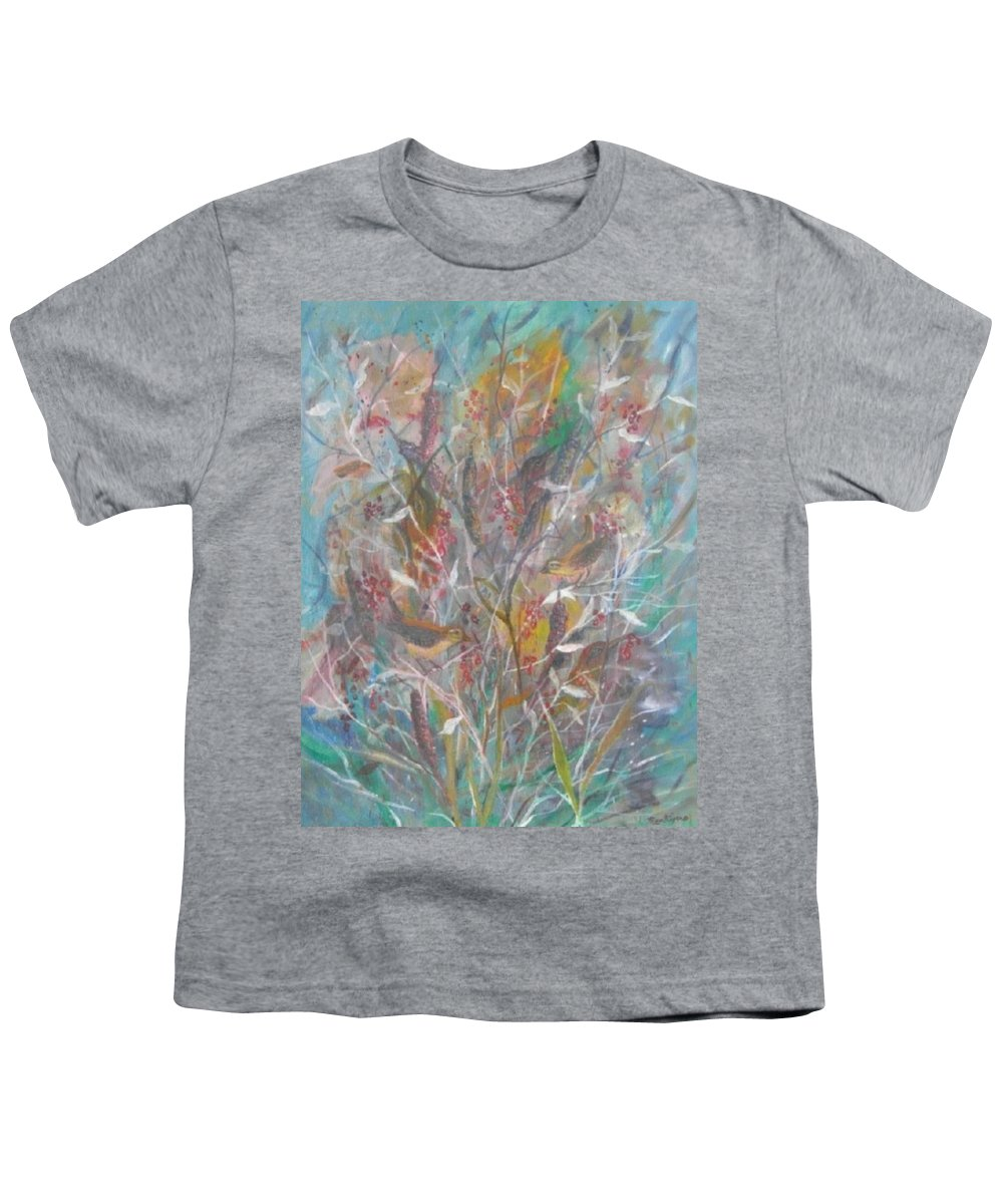 Birds Youth T-Shirt featuring the painting Birds In A Bush by Ben Kiger