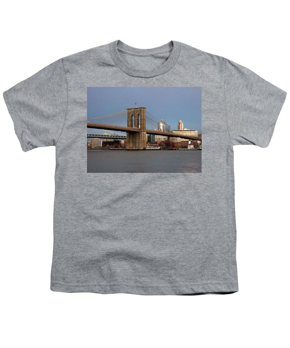 Brooklyn Bridge Youth T-Shirt featuring the photograph Brooklyn Bridge by Anita Burgermeister