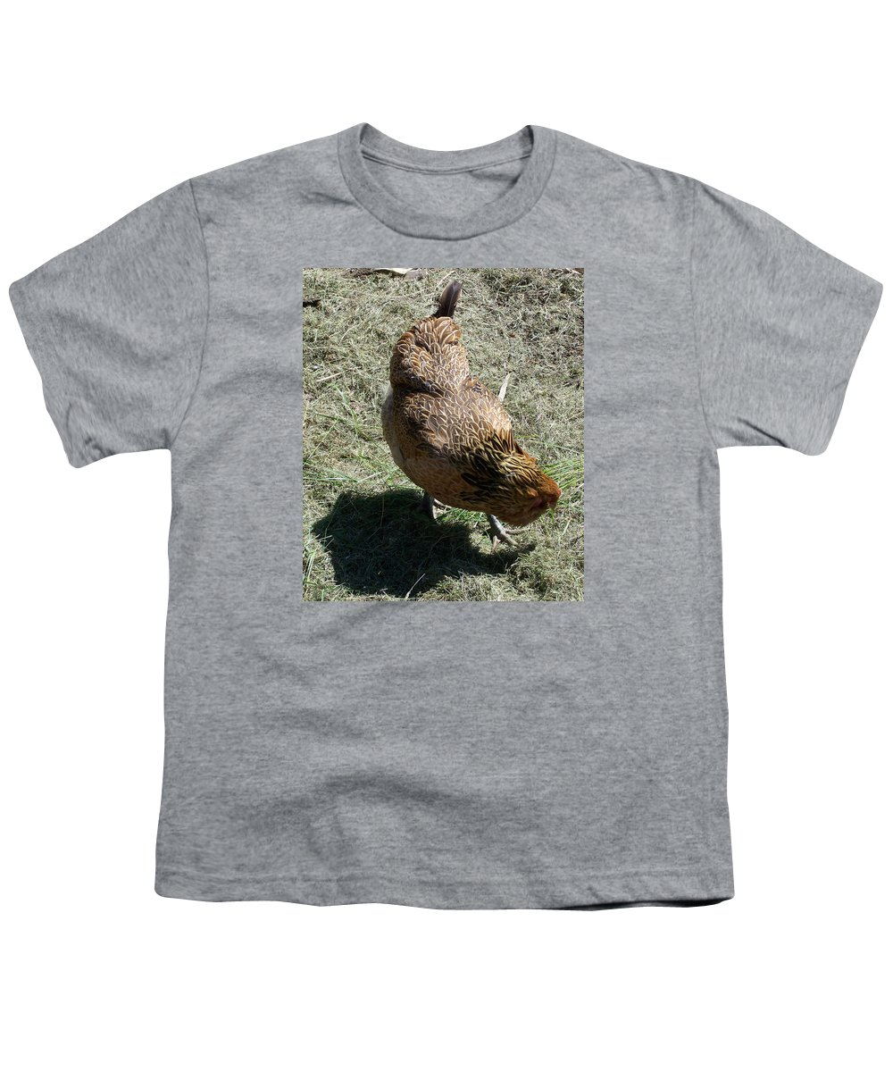 Hen Youth T-Shirt featuring the photograph Brownie The Hen by Laurie Kidd