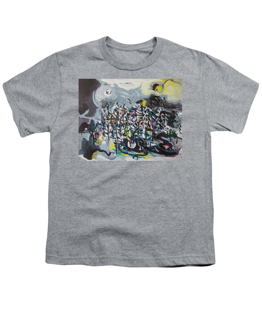 Abstract Paintings Youth T-Shirt featuring the painting Bummer Flat11 by Seon-Jeong Kim