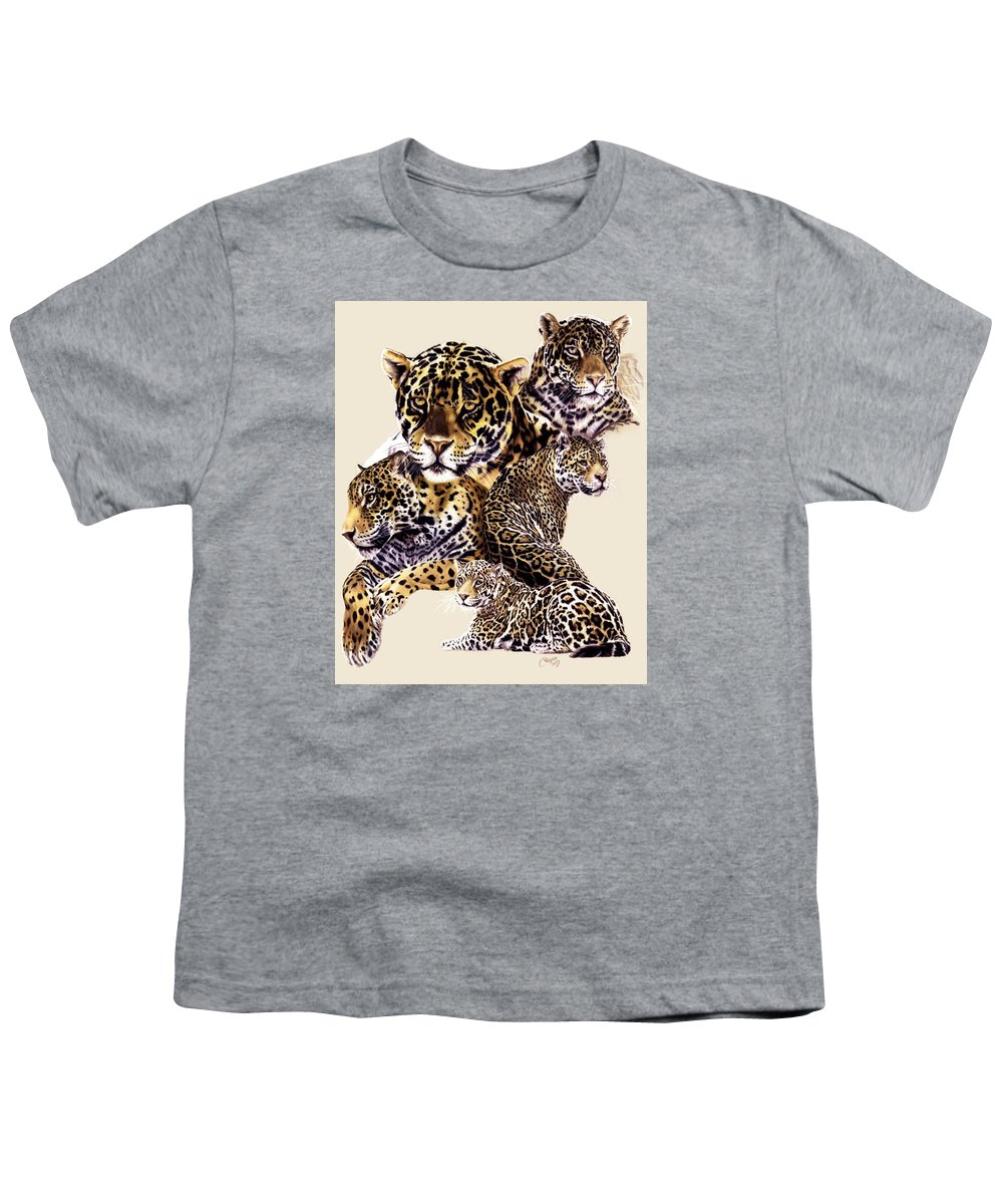 Jaguar Youth T-Shirt featuring the drawing Burn by Barbara Keith