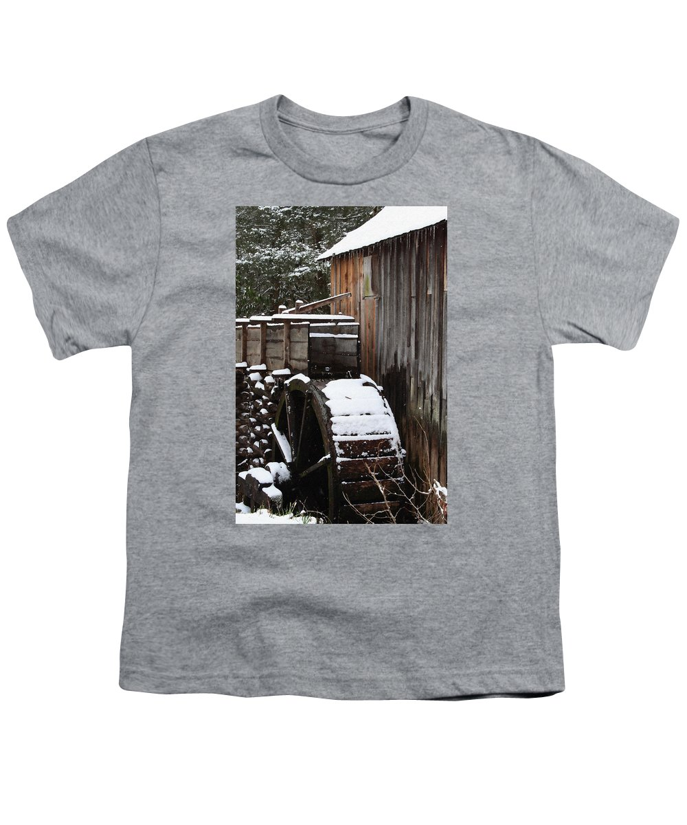 Great Smoky Mountains Youth T-Shirt featuring the photograph Cades Cove Mill I by Margie Wildblood