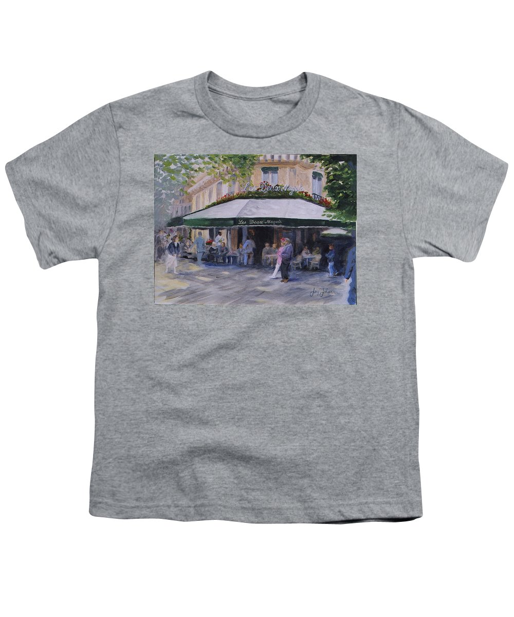 Cafe Magots Youth T-Shirt featuring the painting Cafe Magots by Jay Johnson