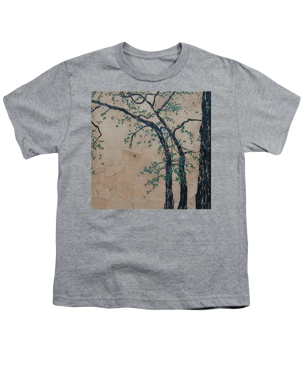 Leafy Tree Youth T-Shirt featuring the painting Canandaigua Lake by Leah Tomaino