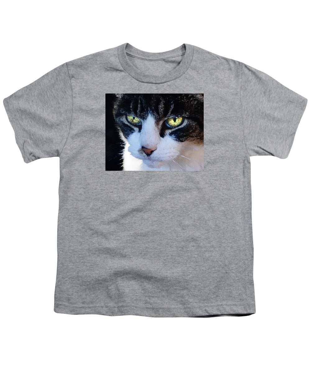 Cat Youth T-Shirt featuring the digital art Cat Eyes by Jana Russon