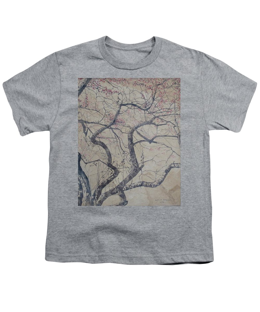 Crab Apple Youth T-Shirt featuring the painting Prairie Fire by Leah Tomaino