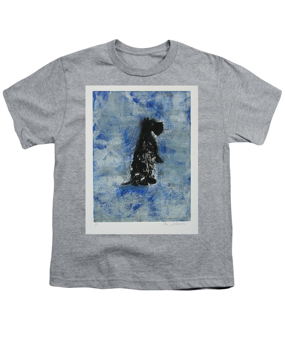 Monotype Youth T-Shirt featuring the mixed media Cool Blue by Cori Solomon