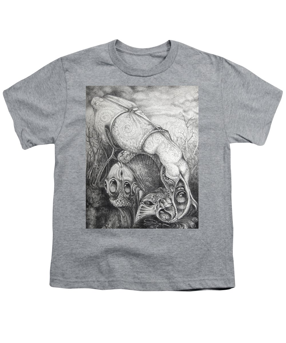 Surrealism Youth T-Shirt featuring the drawing Ctulhu Seedpods by Otto Rapp
