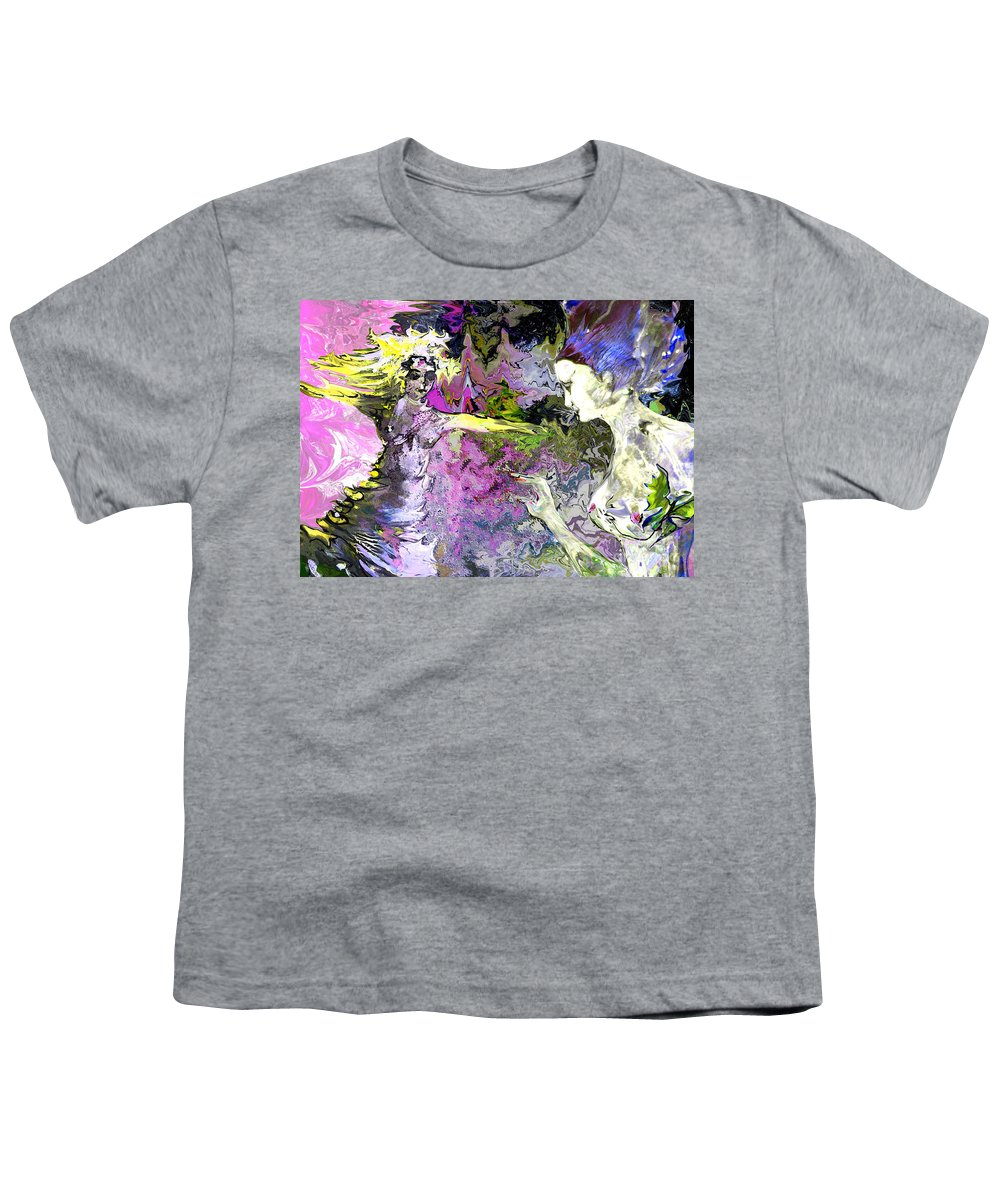 Miki Youth T-Shirt featuring the painting Dance In Violet by Miki De Goodaboom