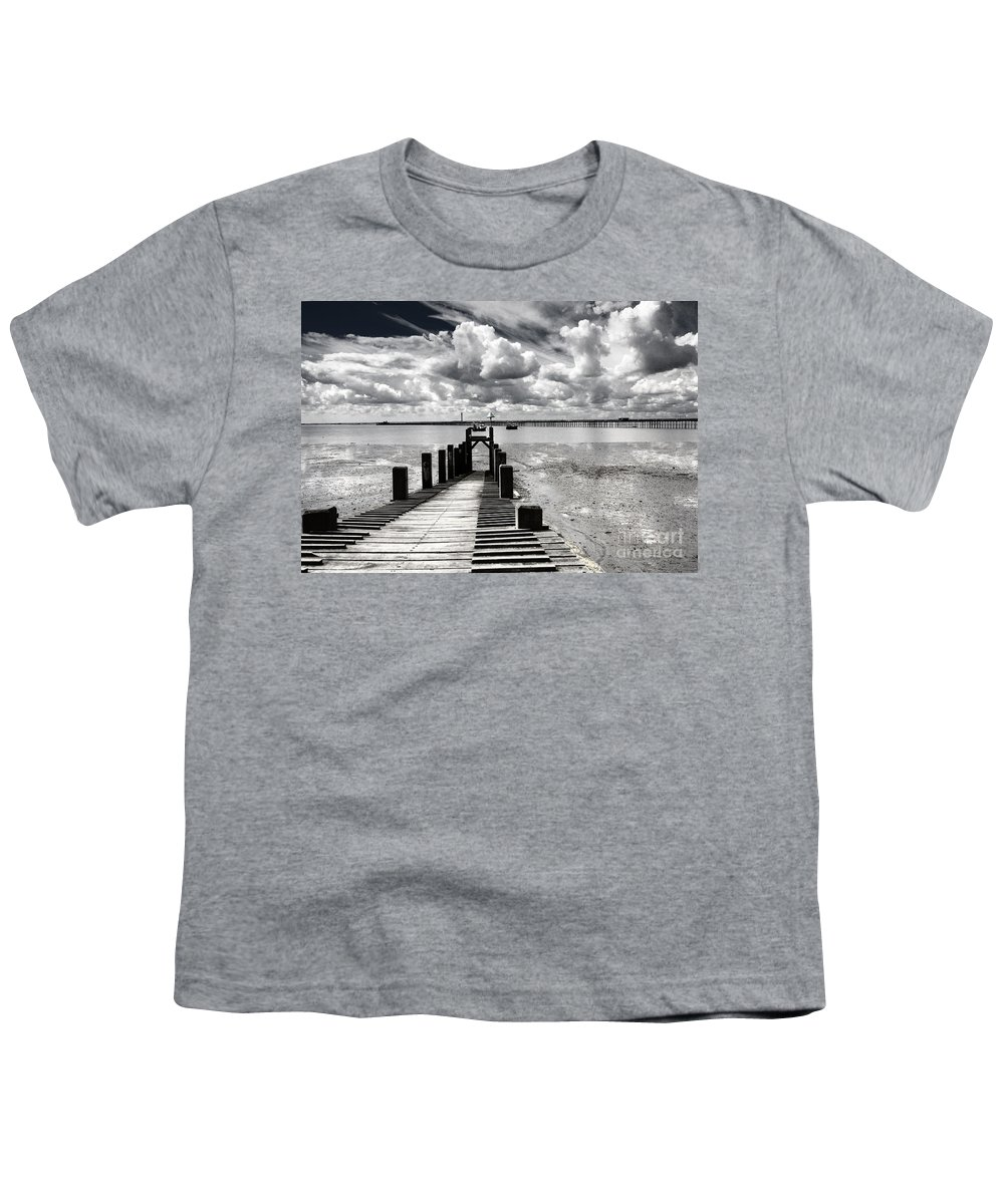 Wharf Southend Essex England Beach Sky Youth T-Shirt featuring the photograph Derelict Wharf by Sheila Smart Fine Art Photography