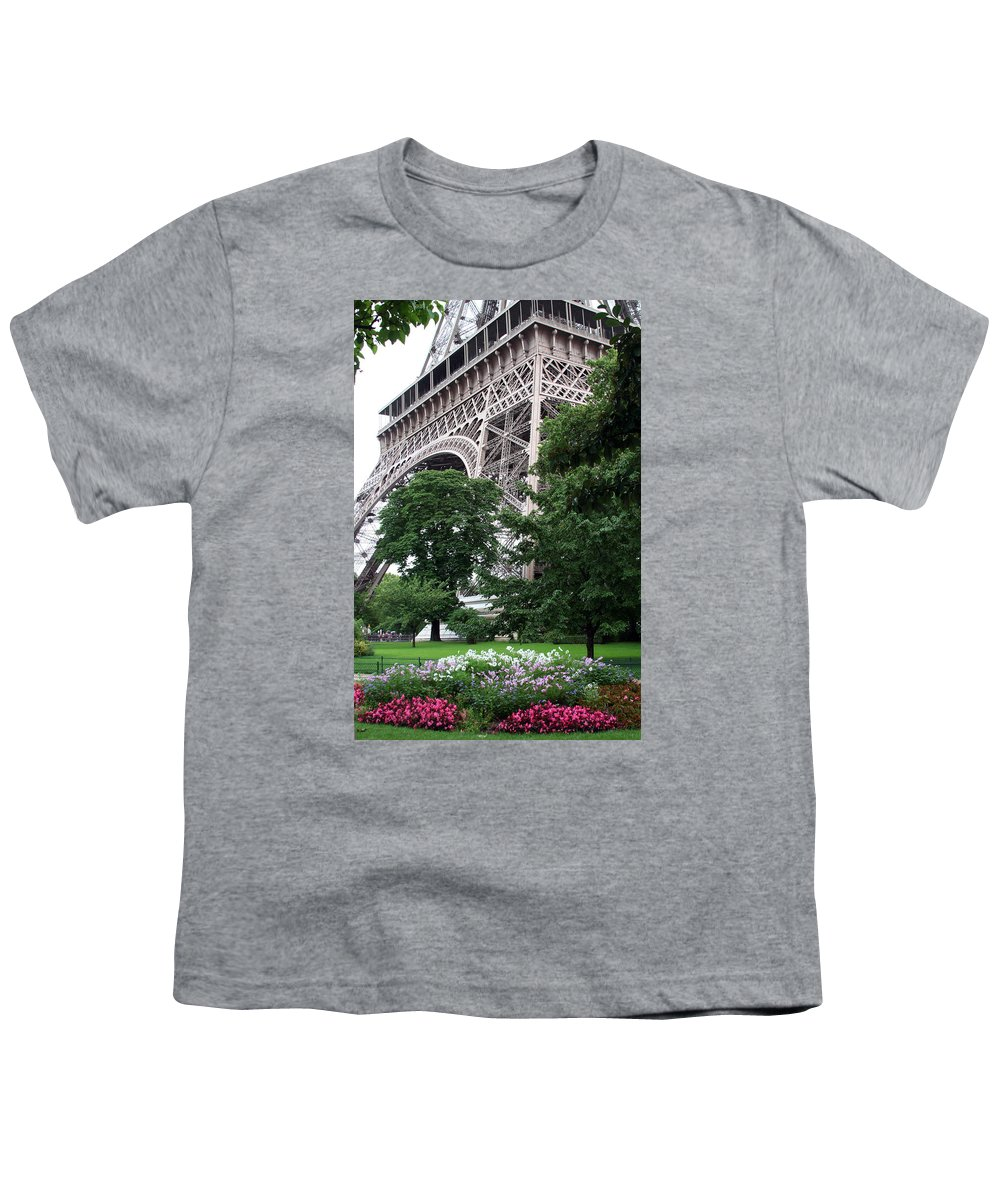 Eiffel Youth T-Shirt featuring the photograph Eiffel Tower Garden by Margie Wildblood