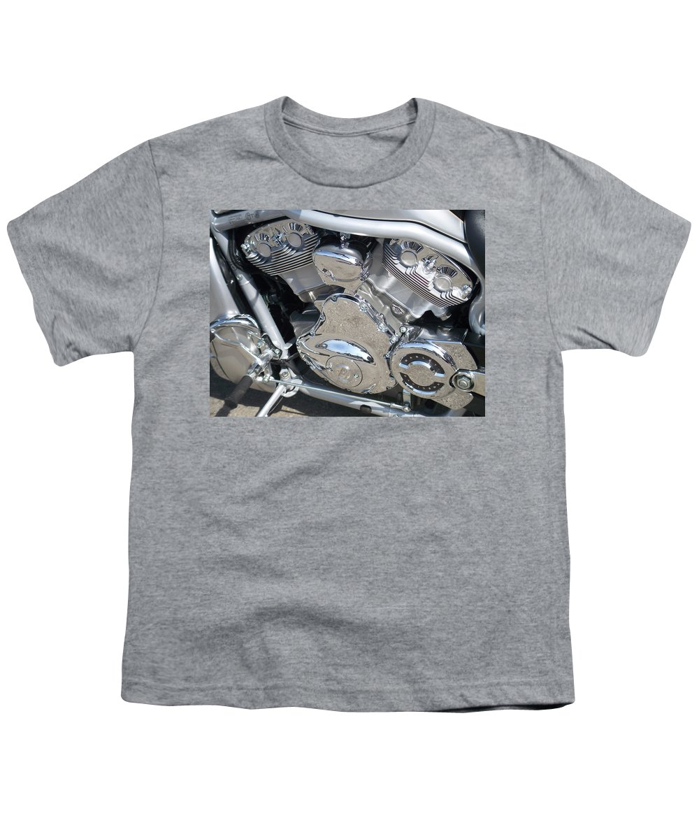 Motorcycle Youth T-Shirt featuring the photograph Engine Close-up 2 by Anita Burgermeister