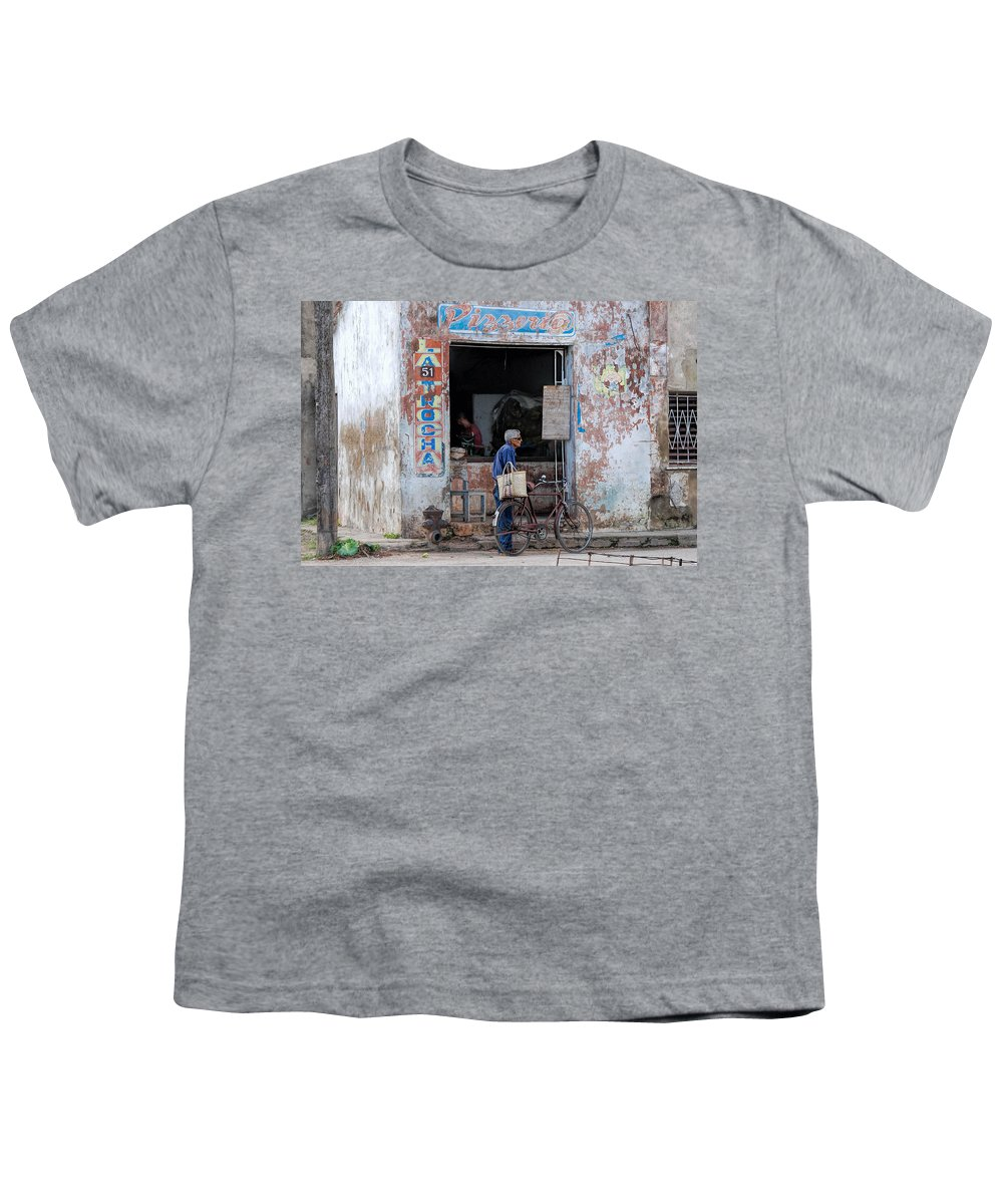 Camaguey; Cuba; Havanna; Habana; Kuba; Pizzeria Youth T-Shirt featuring the photograph Ex-pizzeria In Camaguey by Marie Schleich