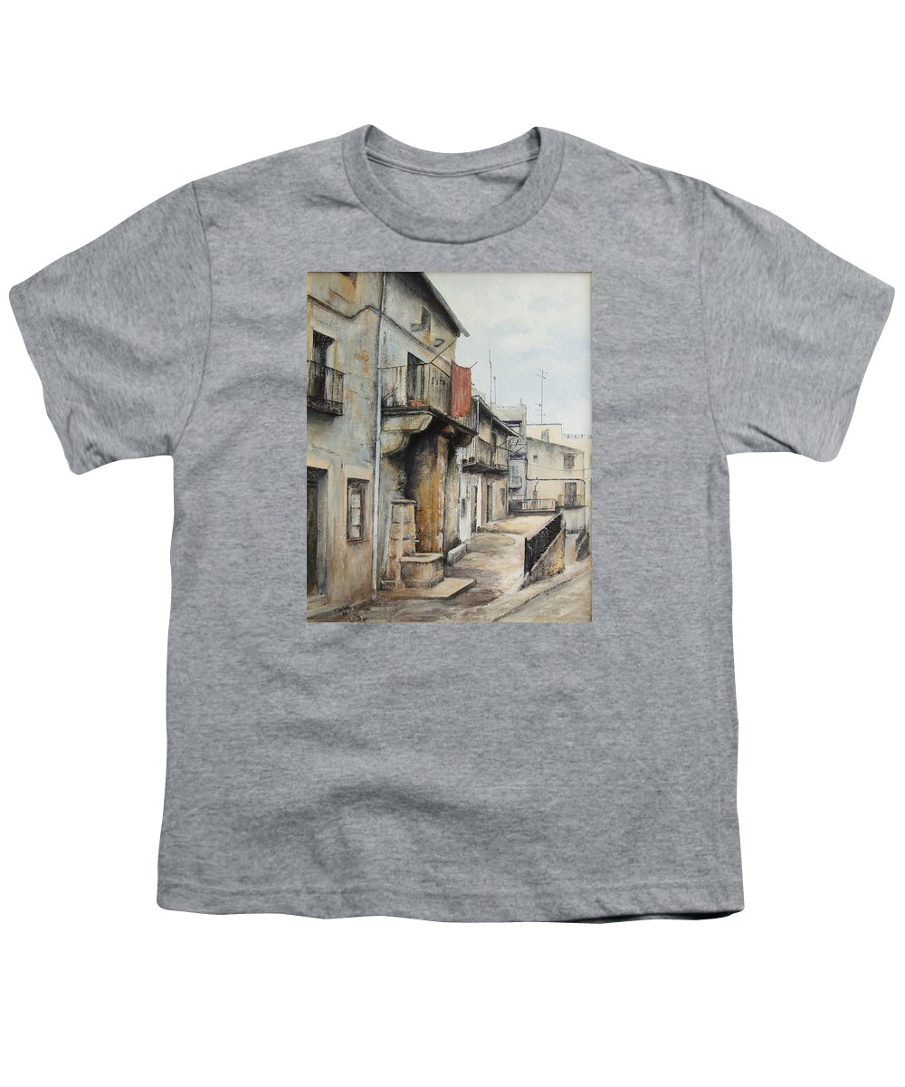 Fermoselle Zamora Spain Oil Painting City Scapes Urban Art Youth T-Shirt featuring the painting Fermoselle by Tomas Castano