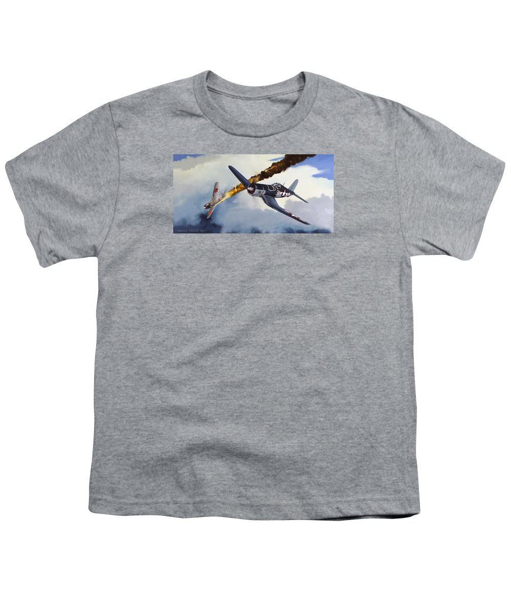 Military Youth T-Shirt featuring the painting First Kill For The Jolly Rogers by Marc Stewart