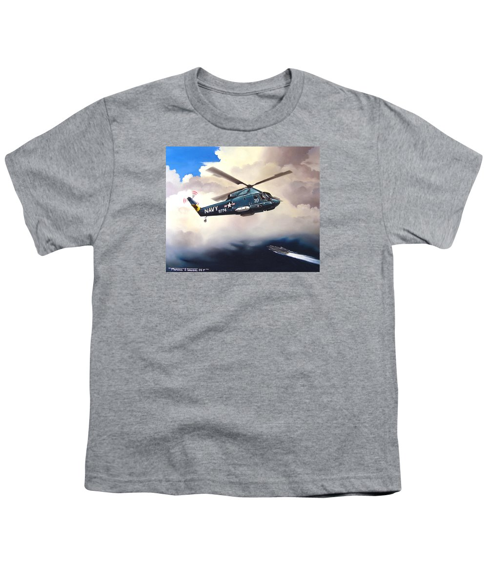 Military Youth T-Shirt featuring the painting Flight Of The Seasprite by Marc Stewart