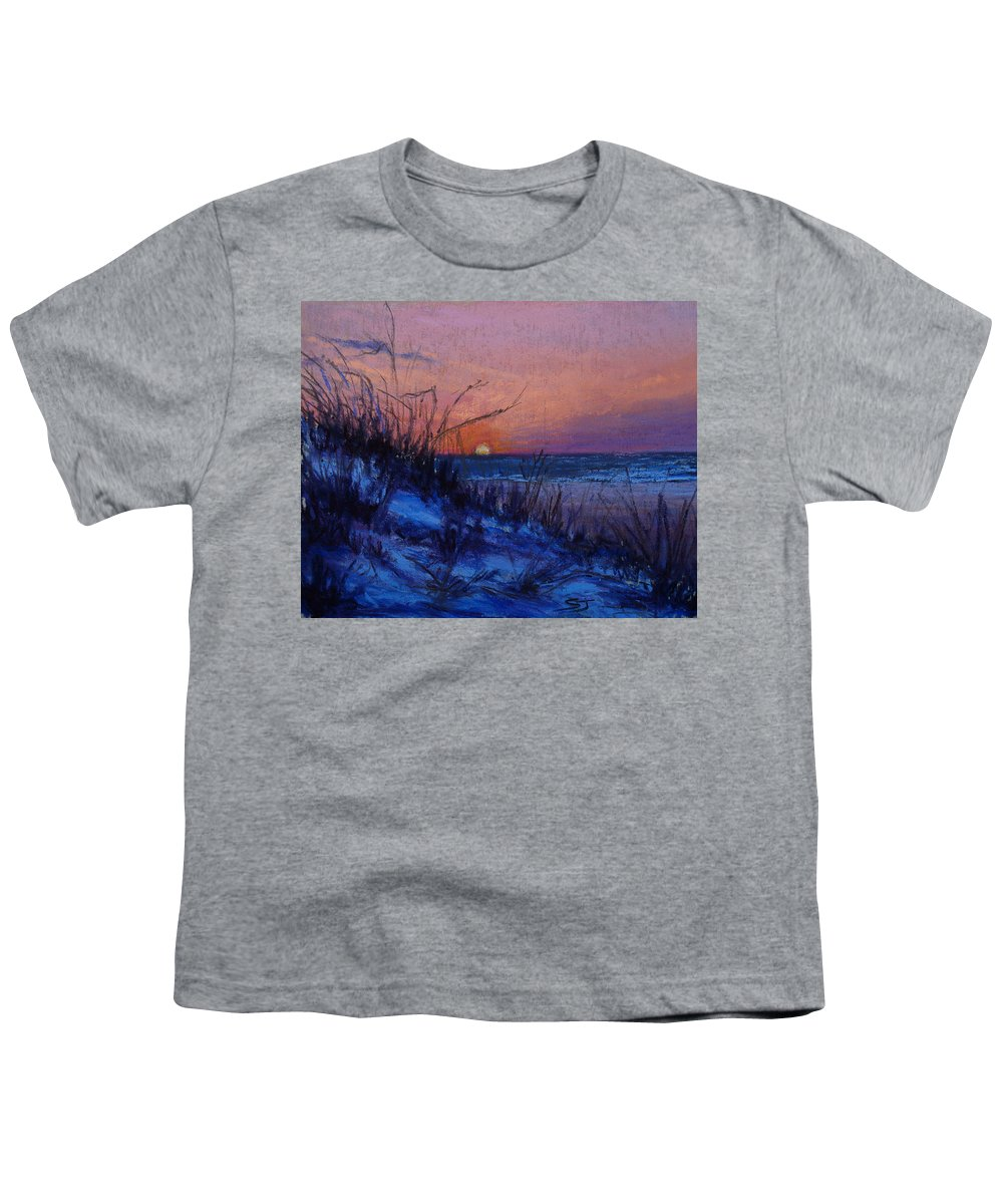 Landscape Youth T-Shirt featuring the pastel Frenchy's Sunset by Susan Jenkins