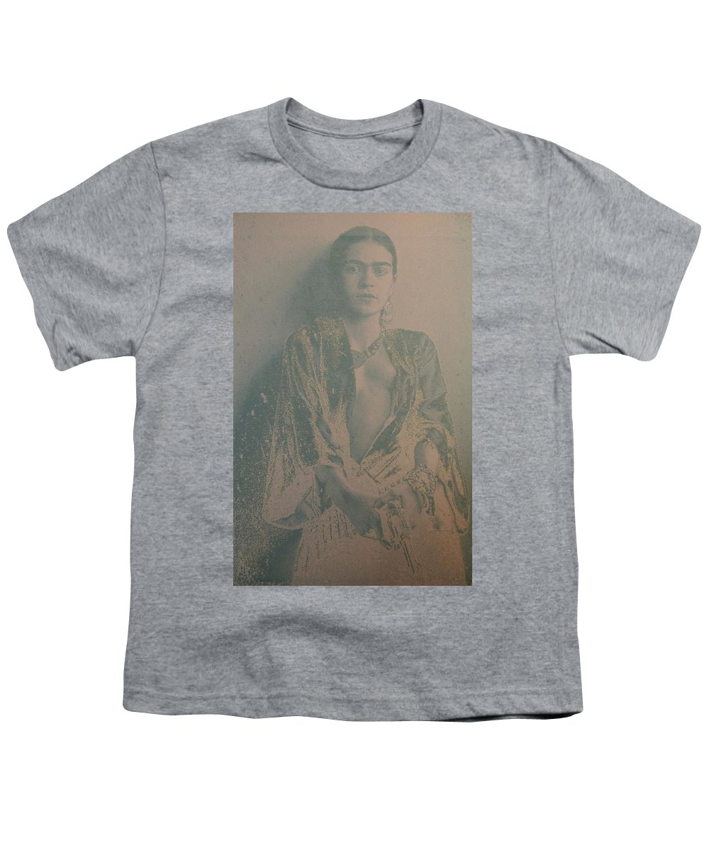 707b7988 Frida Kahlo Holding A Gun Youth T-Shirt for Sale by Donna Wilson