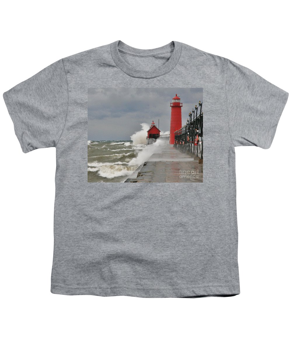 Light House Youth T-Shirt featuring the photograph Gale Warnings by Robert Pearson