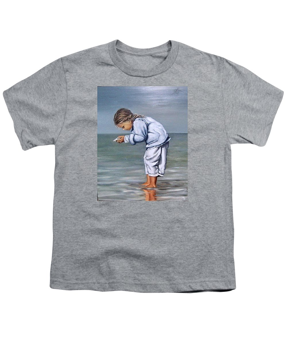 Kid Girl Seascape Sea Children Reflection Water Sea Shell Figurative Youth T-Shirt featuring the painting Girl With Shell by Natalia Tejera