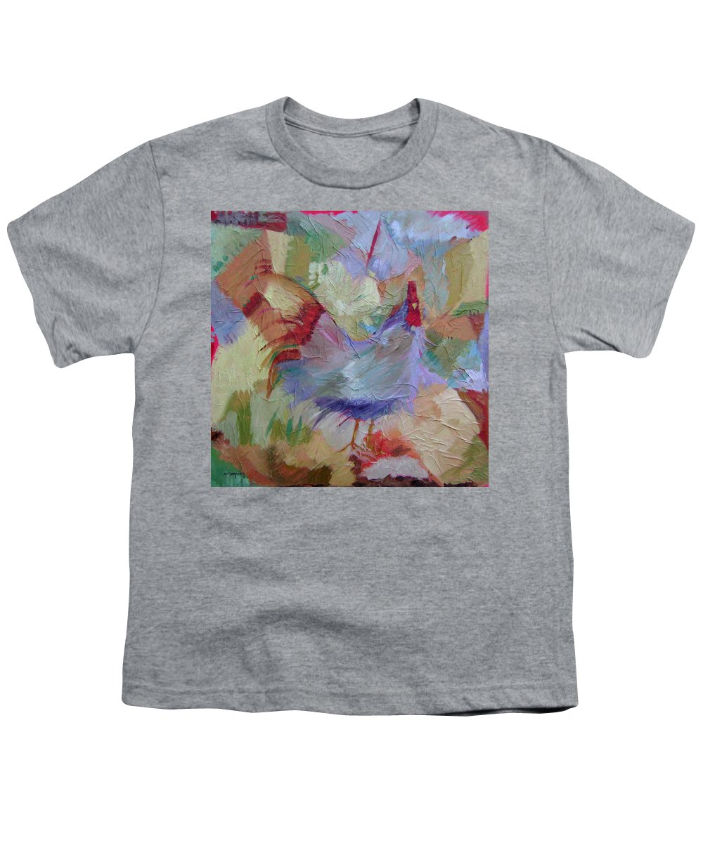 Chicken Paintings Youth T-Shirt featuring the painting Good Morning by Ginger Concepcion