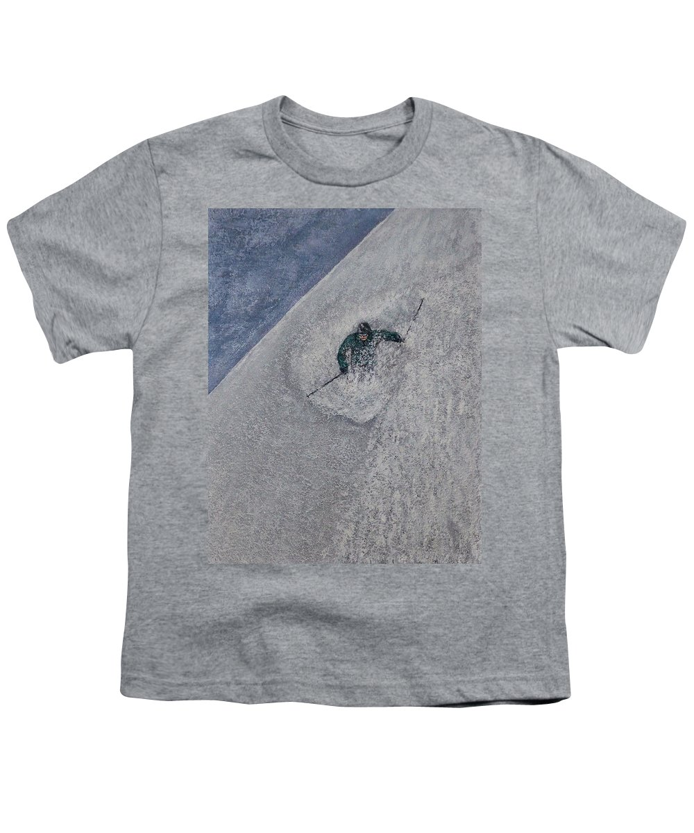 Ski Youth T-Shirt featuring the painting Gravity by Michael Cuozzo