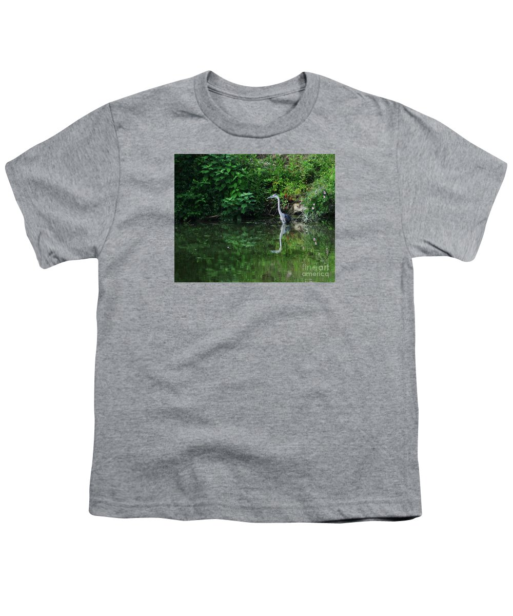 Lanscape Water Bird Crane Heron Blue Green Flowers Great Photograph Youth T-Shirt featuring the photograph Great Blue Heron Hunting Fish by Dawn Downour