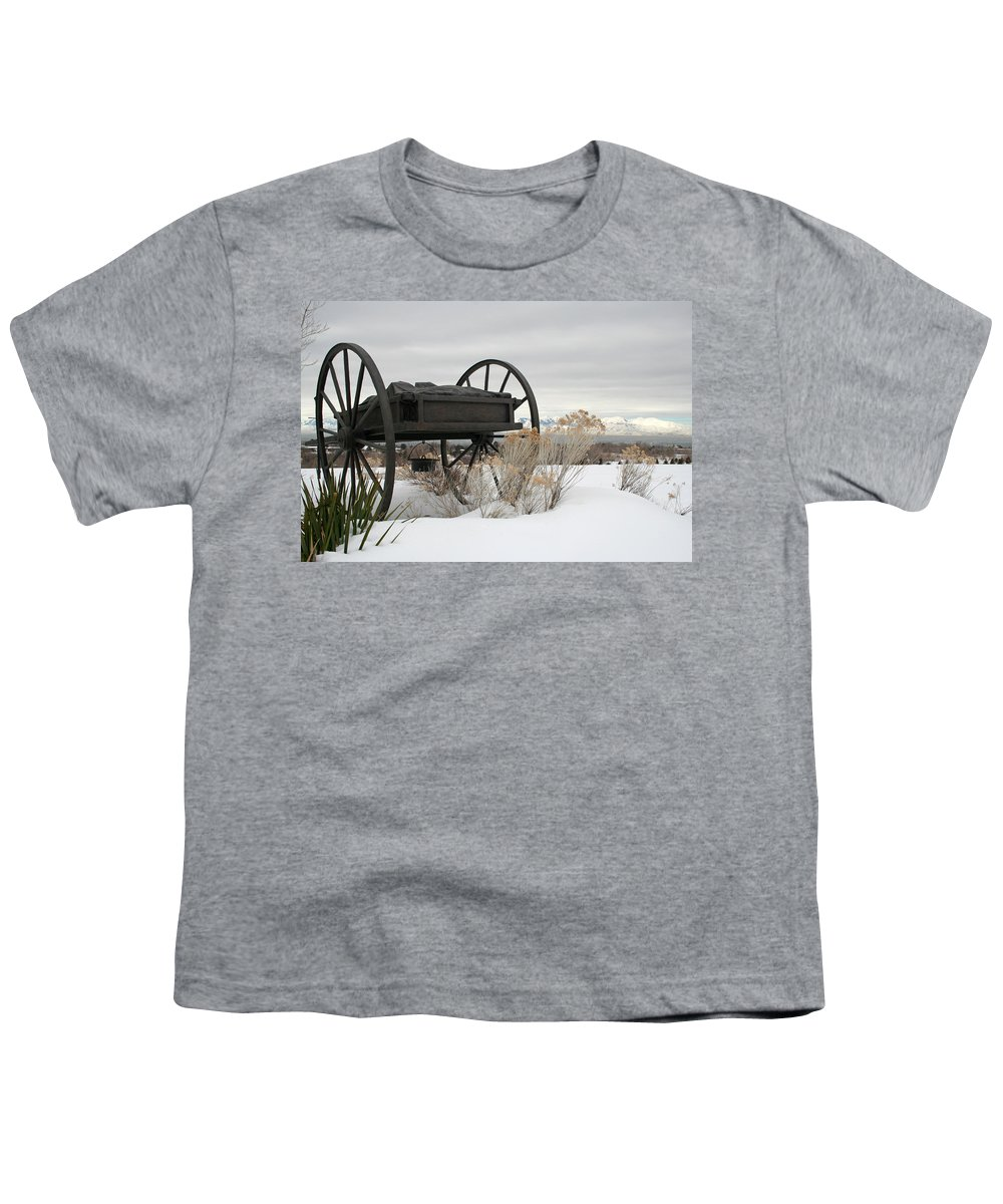 Handcart Youth T-Shirt featuring the photograph Handcart Monument by Margie Wildblood