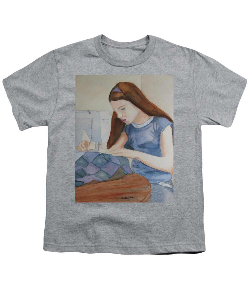 Girl Youth T-Shirt featuring the painting Her First Quilt by Jenny Armitage