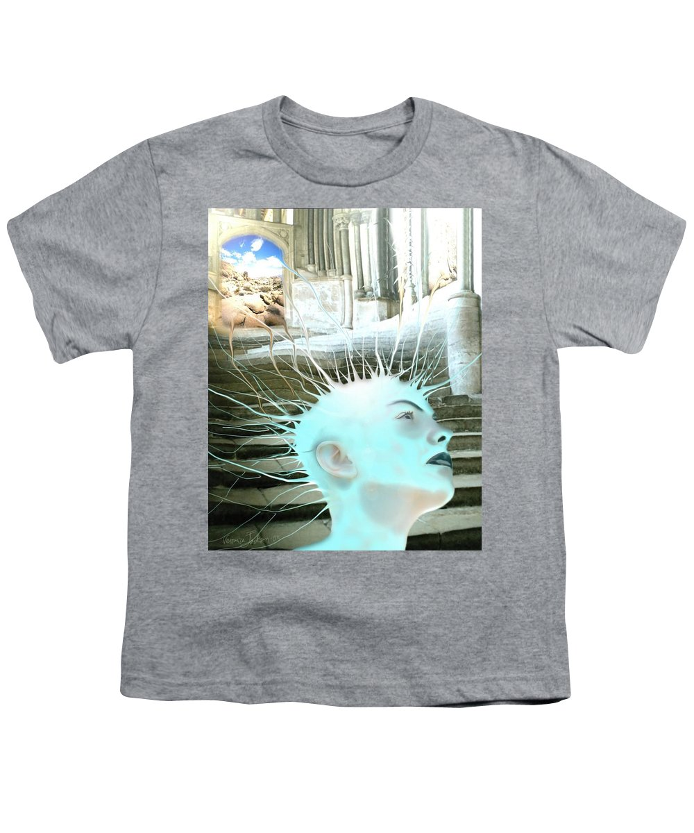 Thoughts Stairs Energy Space Youth T-Shirt featuring the digital art I by Veronica Jackson