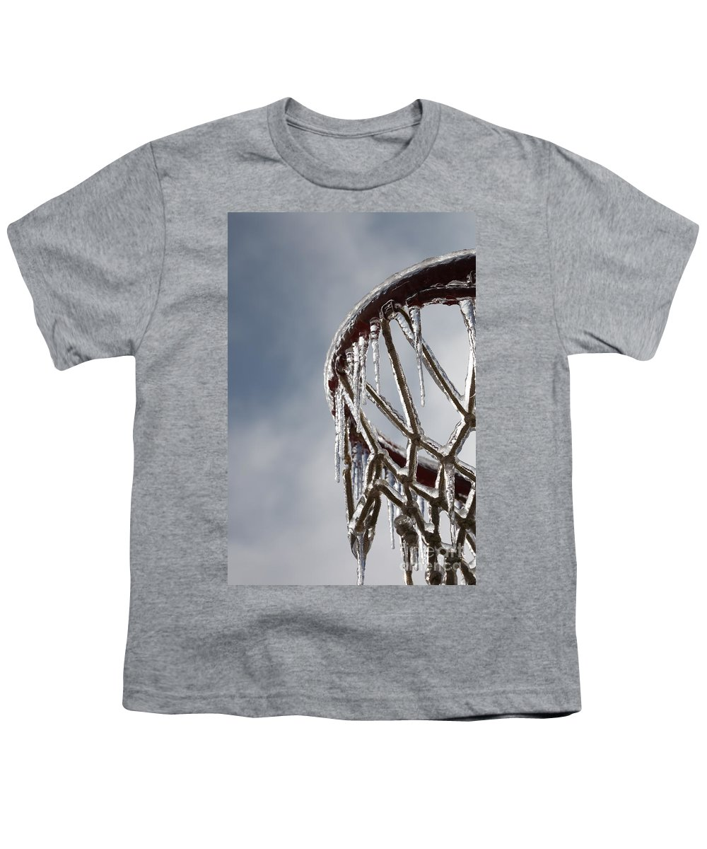 Basketball Youth T-Shirt featuring the photograph Icy Hoops by Nadine Rippelmeyer