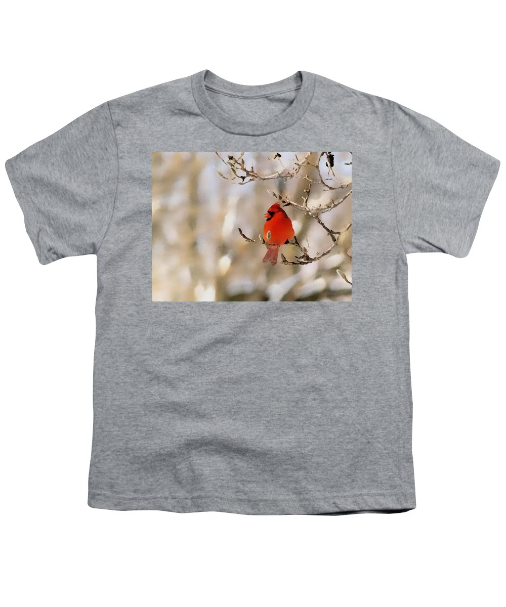 Cardinal Youth T-Shirt featuring the photograph In Red by Gaby Swanson