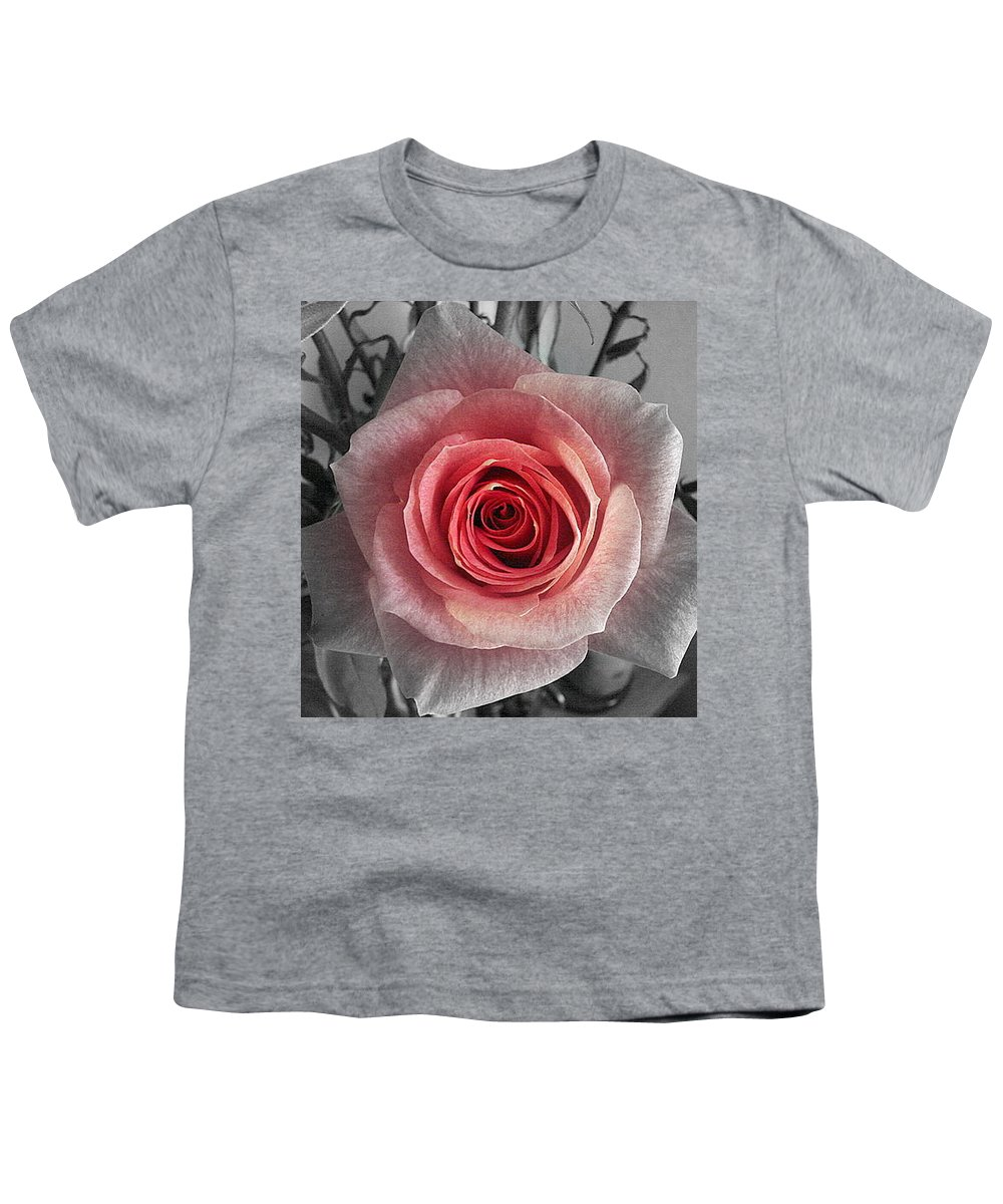 Rose Red Blackandwhite Youth T-Shirt featuring the photograph In The Center by Luciana Seymour
