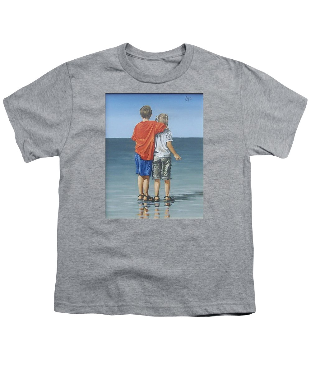 Kids Youth T-Shirt featuring the painting Kids by Natalia Tejera