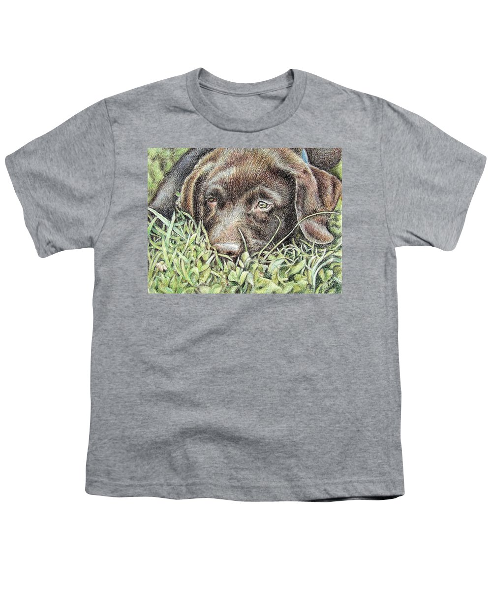 Dog Youth T-Shirt featuring the pastel Labrador Puppy by Nicole Zeug