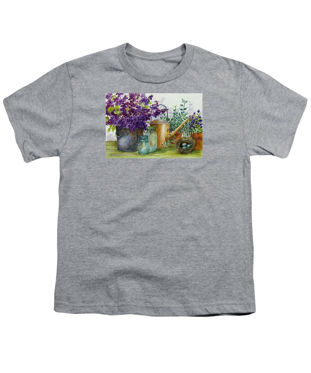 Still Life;lilacs; Ball Jars; Watering Can;bird Nest; Bird Eggs; Youth T-Shirt featuring the painting Lilacs And Ball Jars by Lois Mountz