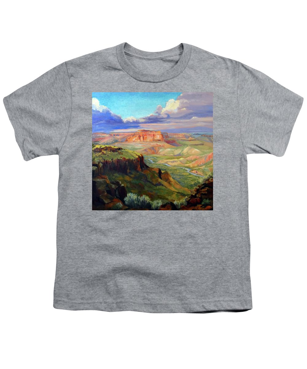 Landscape Youth T-Shirt featuring the painting Look Out At White Rock by Nancy Paris Pruden